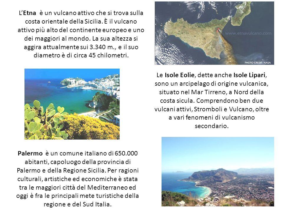 LEtna è un vulcano attivo che si trova sulla costa orientale della Sicilia. È il vulcano attivo più alto del continente europeo e uno dei maggiori al