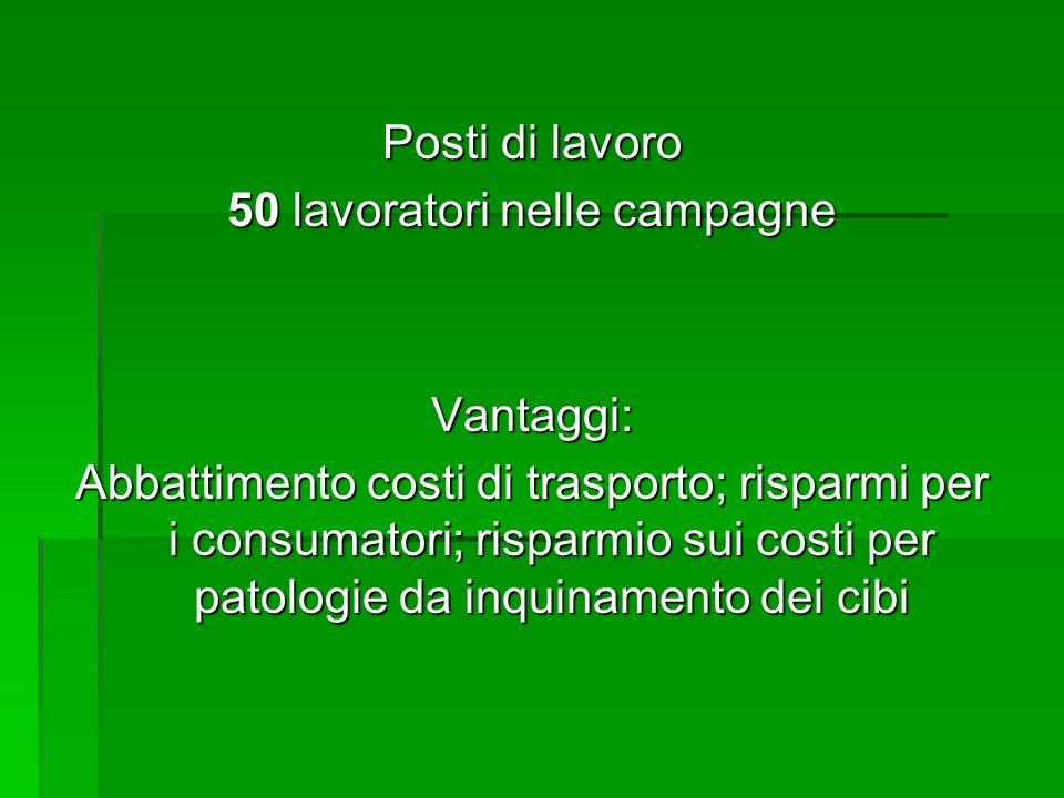 Posti di lavoro 50 lavoratori nelle campagne Vantaggi: Abbattimento costi di trasporto; risparmi per i consumatori; risparmio sui costi per patologie da inquinamento dei cibi