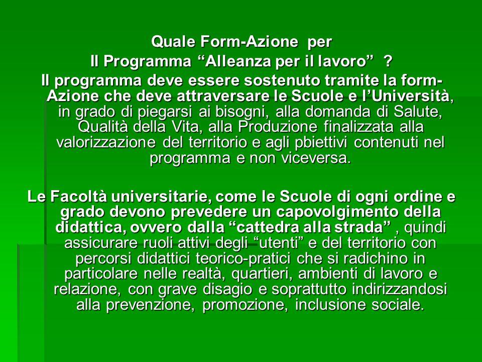 Quale Form-Azione per Il Programma Alleanza per il lavoro .