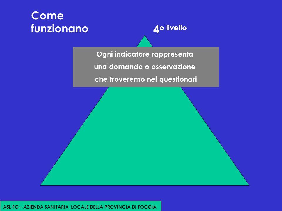 Come funzionano Ogni indicatore rappresenta una domanda o osservazione che troveremo nei questionari 4 o livello ASL FG – AZIENDA SANITARIA LOCALE DELLA PROVINCIA DI FOGGIA