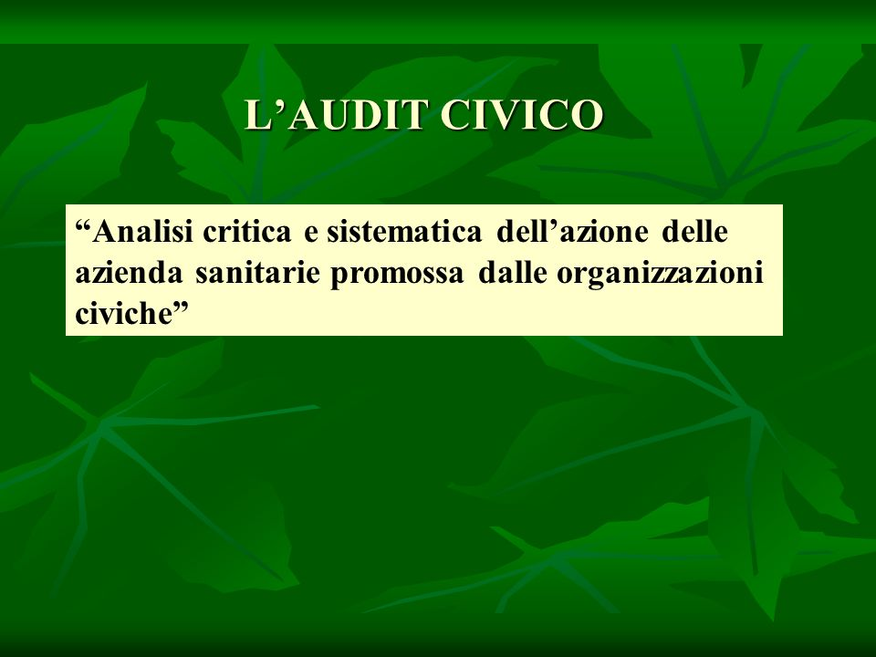 LAUDIT CIVICO Analisi critica e sistematica dellazione delle azienda sanitarie promossa dalle organizzazioni civiche