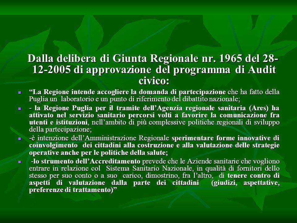 Dalla delibera di Giunta Regionale nr.