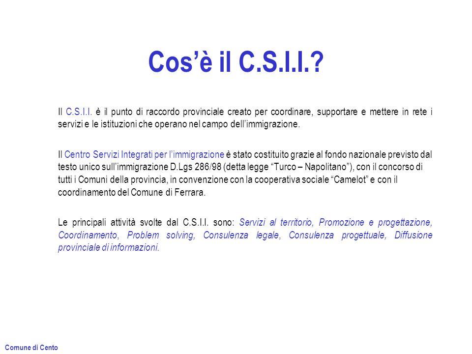 Cosè il C.S.I.I.? Il C.S.I.I. è il punto di raccordo provinciale creato per coordinare, supportare e mettere in rete i servizi e le istituzioni che op