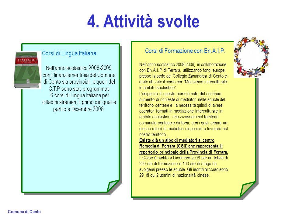 4. Attività svolte Corsi di Lingua Italiana: Nellanno scolastico 2008-2009, con i finanziamenti sia del Comune di Cento sia provinciali, e quelli del