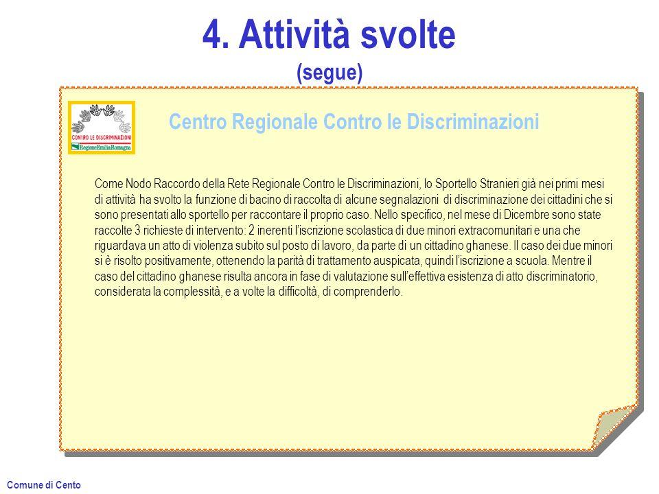 4. Attività svolte (segue) Centro Regionale Contro le Discriminazioni Come Nodo Raccordo della Rete Regionale Contro le Discriminazioni, lo Sportello