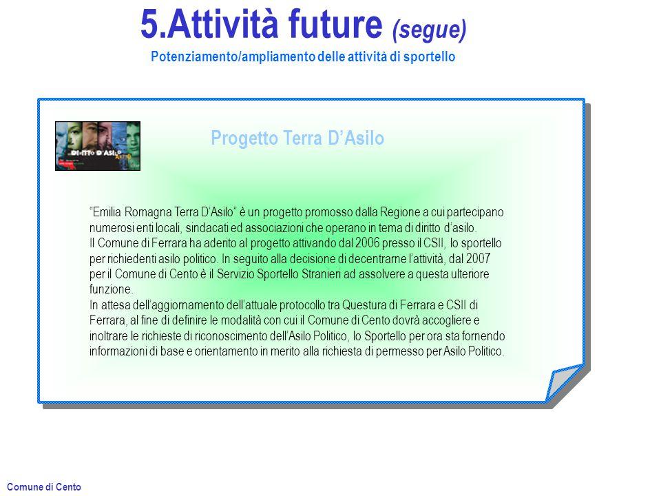 5.Attività future (segue) Potenziamento/ampliamento delle attività di sportello Progetto Terra DAsilo Emilia Romagna Terra DAsilo è un progetto promosso dalla Regione a cui partecipano numerosi enti locali, sindacati ed associazioni che operano in tema di diritto dasilo.