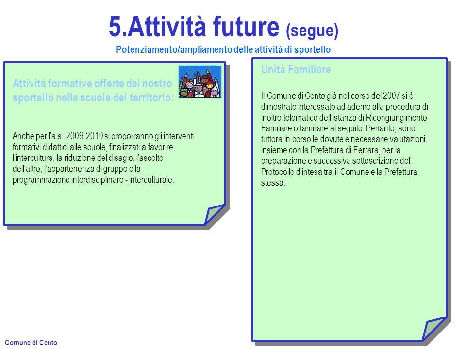 5.Attività future (segue) Potenziamento/ampliamento delle attività di sportello Attività formative offerte dal nostro sportello nelle scuole del territorio: Anche per la.s.