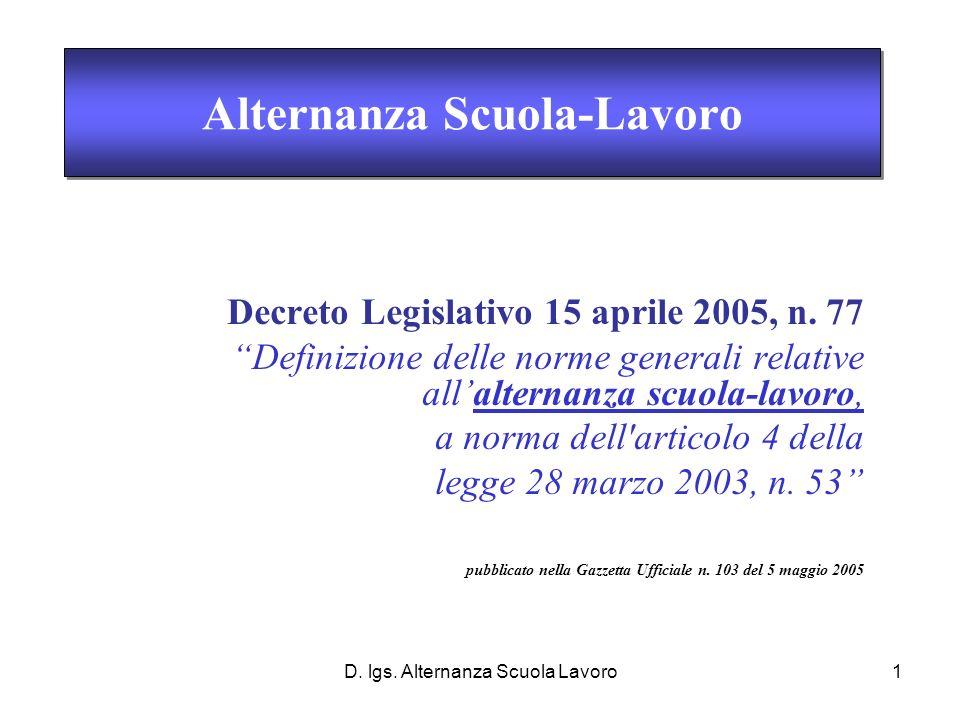 D. lgs. Alternanza Scuola Lavoro1 Decreto Legislativo 15 aprile 2005, n.