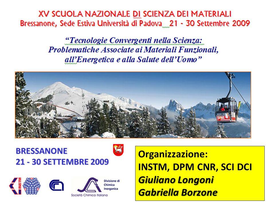 DIVISIONE DI CHIMICA INORGANICA 10 BRESSANONE 21 - 30 SETTEMBRE 2009 Organizzazione: INSTM, DPM CNR, SCI DCI Giuliano Longoni Gabriella Borzone