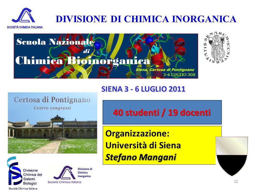 DIVISIONE DI CHIMICA INORGANICA 12 SIENA 3 - 6 LUGLIO 2011 40 studenti / 19 docenti Organizzazione: Università di Siena Stefano Mangani