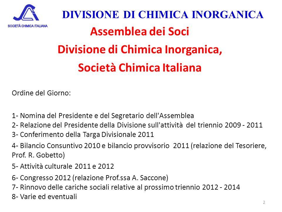 DIVISIONE DI CHIMICA INORGANICA Assemblea dei Soci Divisione di Chimica Inorganica, Società Chimica Italiana Ordine del Giorno: 1- Nomina del Presiden