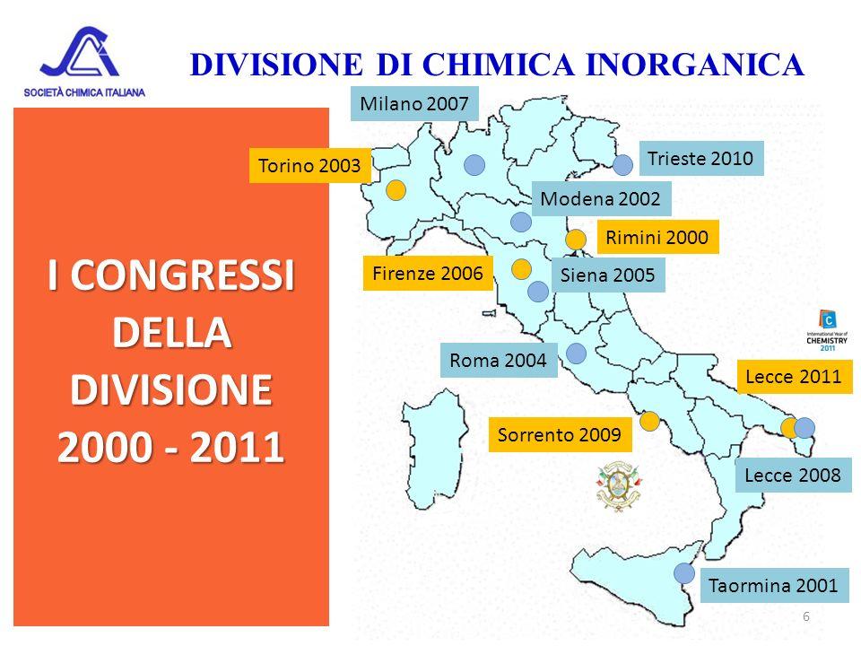 I CONGRESSI DELLA DIVISIONE 2000 - 2011 DIVISIONE DI CHIMICA INORGANICA 6 Trieste 2010 Sorrento 2009 Lecce 2011 Lecce 2008 Siena 2005 Milano 2007 Fire