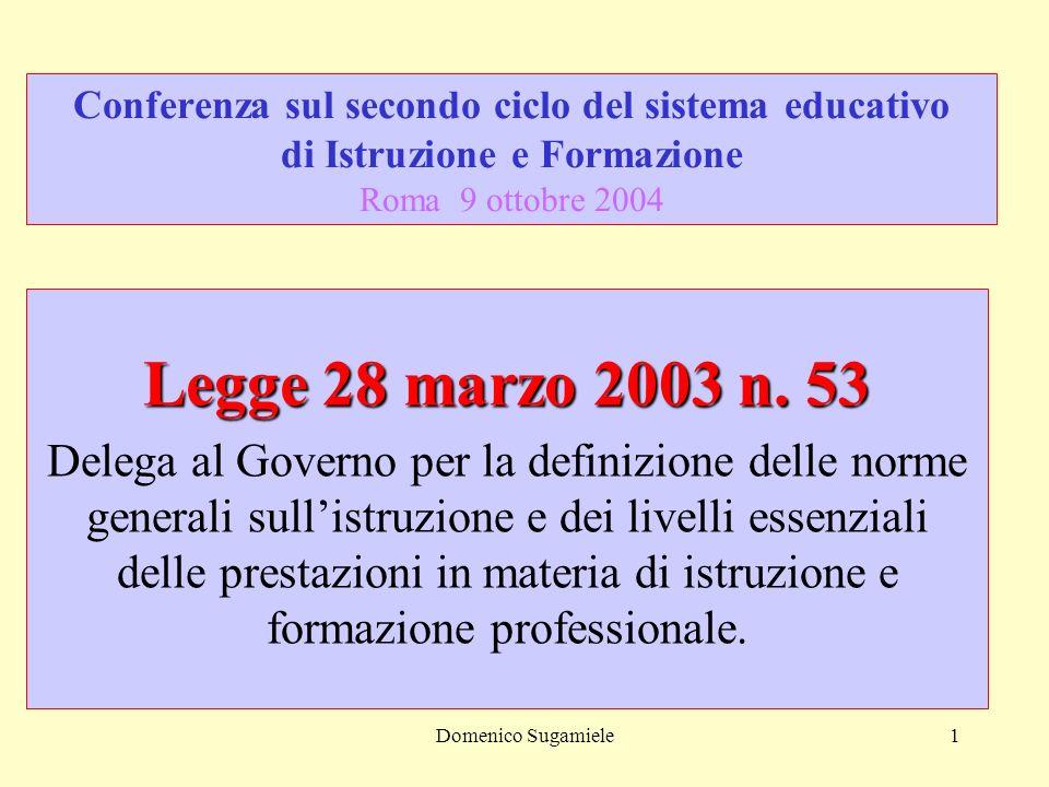 Domenico Sugamiele1 Conferenza sul secondo ciclo del sistema educativo di Istruzione e Formazione Roma 9 ottobre 2004 Legge 28 marzo 2003 n.