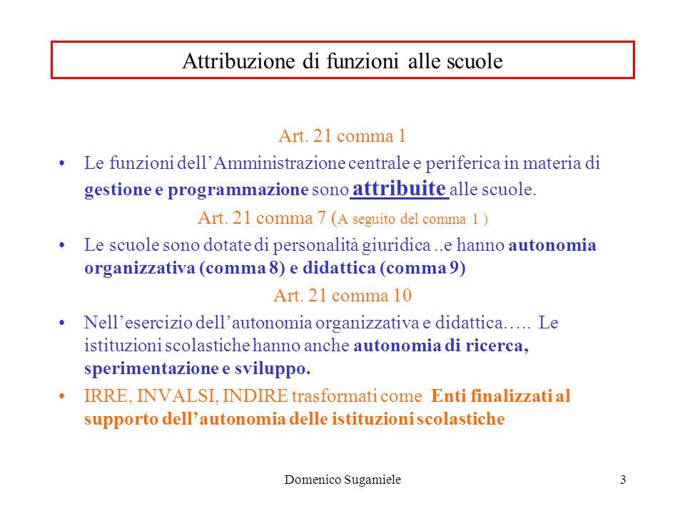 Domenico Sugamiele3 Attribuzione di funzioni alle scuole Art.