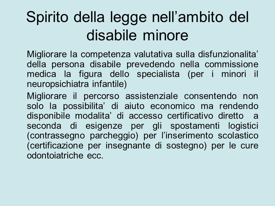 Spirito della legge nellambito del disabile minore Migliorare la competenza valutativa sulla disfunzionalita della persona disabile prevedendo nella c