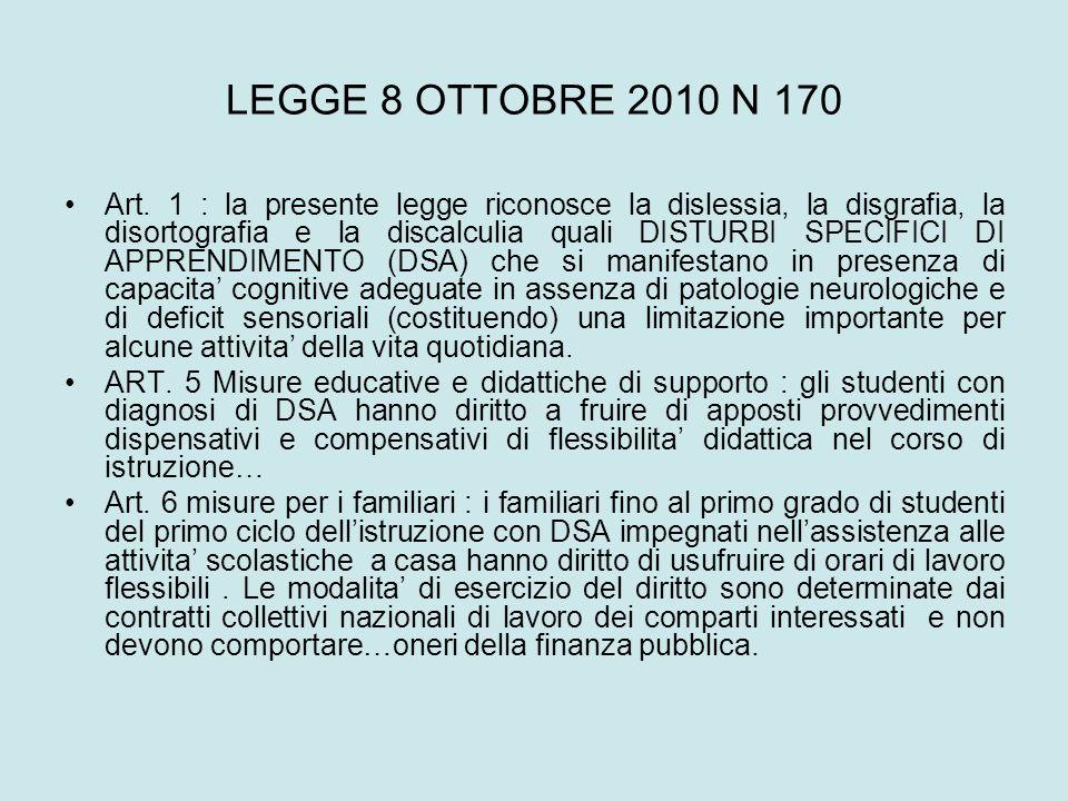 LEGGE 8 OTTOBRE 2010 N 170 Art. 1 : la presente legge riconosce la dislessia, la disgrafia, la disortografia e la discalculia quali DISTURBI SPECIFICI