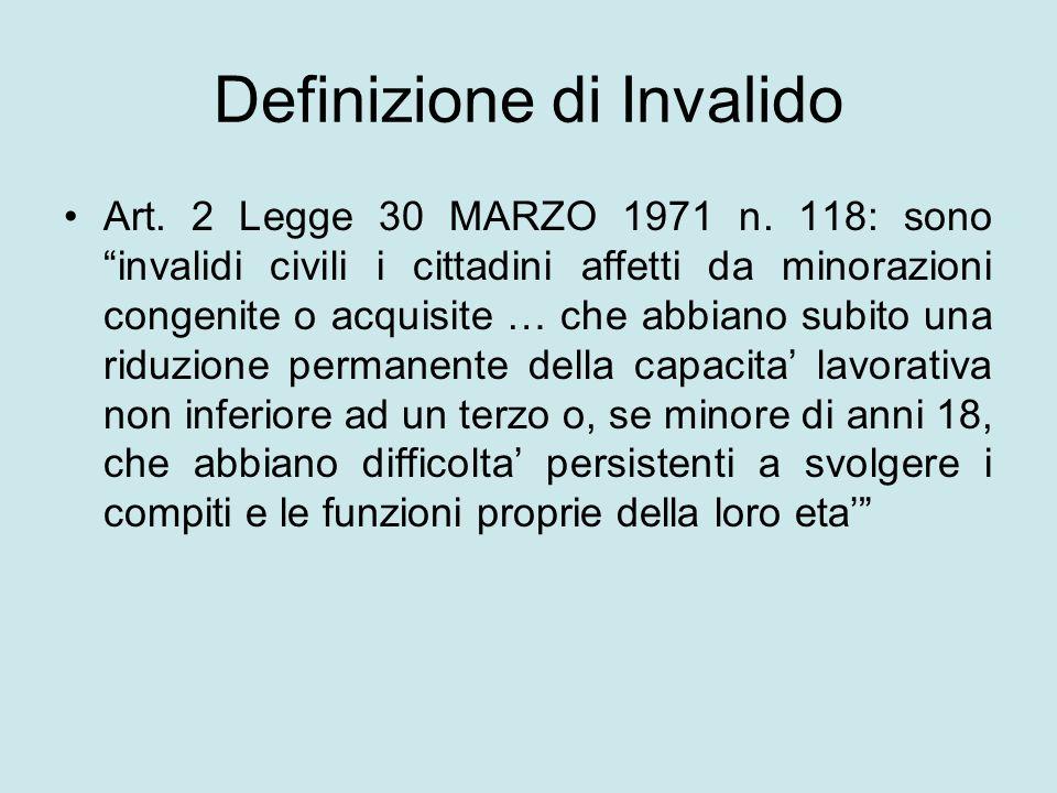 Definizione di Invalido Art. 2 Legge 30 MARZO 1971 n. 118: sono invalidi civili i cittadini affetti da minorazioni congenite o acquisite … che abbiano