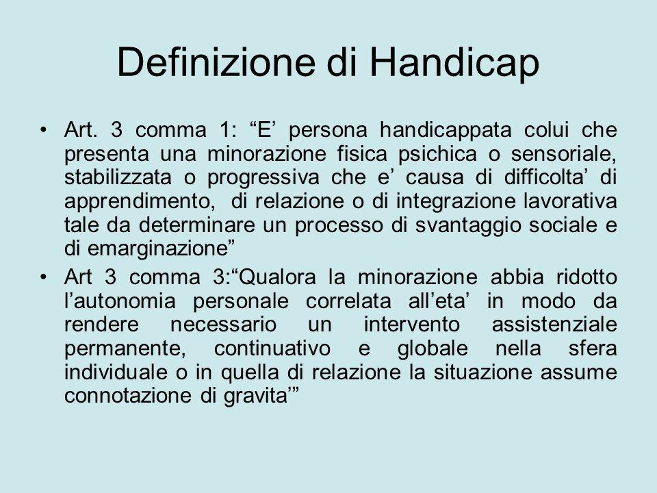 Definizione di Handicap Art. 3 comma 1: E persona handicappata colui che presenta una minorazione fisica psichica o sensoriale, stabilizzata o progres