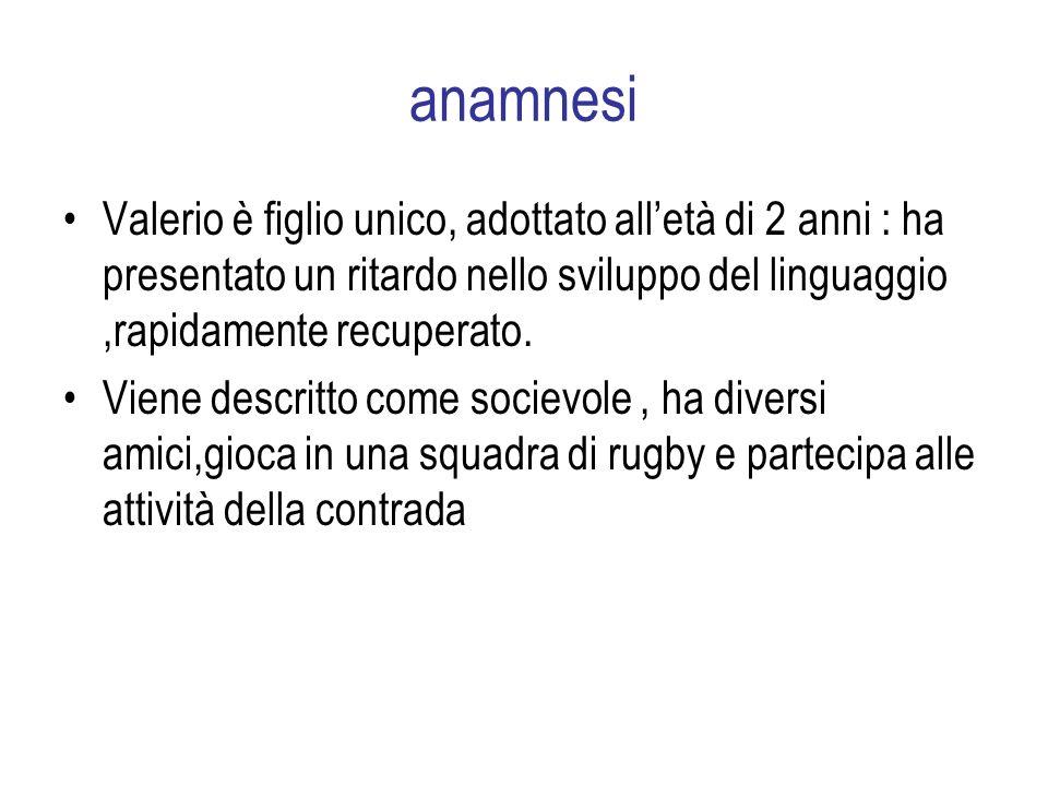 anamnesi Valerio è figlio unico, adottato alletà di 2 anni : ha presentato un ritardo nello sviluppo del linguaggio,rapidamente recuperato.