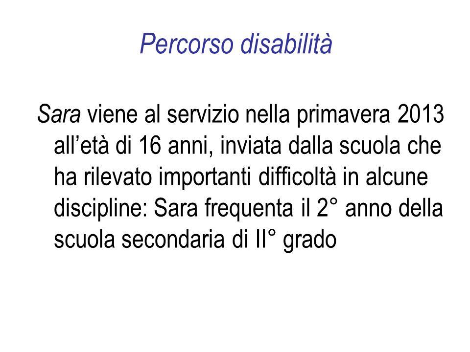 Percorso disabilità Sara viene al servizio nella primavera 2013 alletà di 16 anni, inviata dalla scuola che ha rilevato importanti difficoltà in alcune discipline: Sara frequenta il 2° anno della scuola secondaria di II° grado