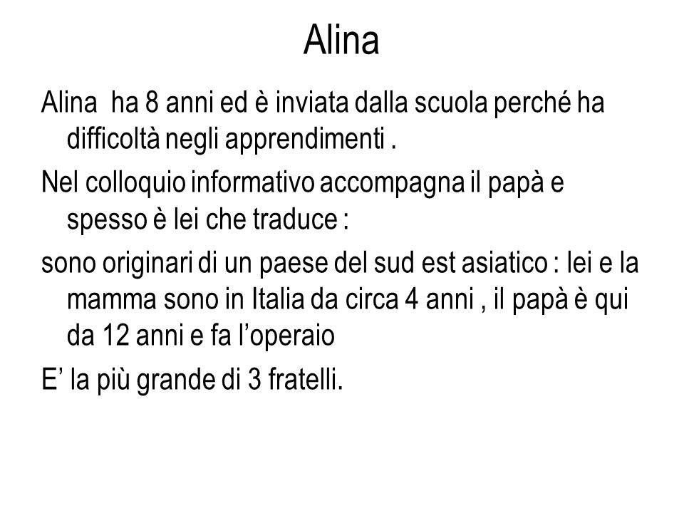Alina Alina ha 8 anni ed è inviata dalla scuola perché ha difficoltà negli apprendimenti.