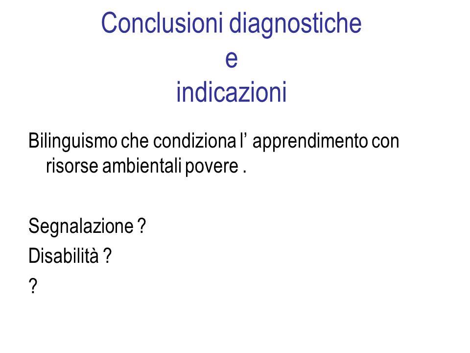 Conclusioni diagnostiche e indicazioni Bilinguismo che condiziona l apprendimento con risorse ambientali povere.