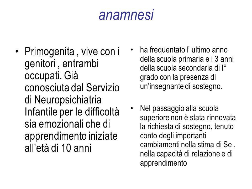 anamnesi Primogenita, vive con i genitori, entrambi occupati.