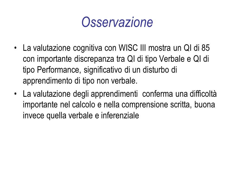 Osservazione La valutazione cognitiva con WISC III mostra un QI di 85 con importante discrepanza tra QI di tipo Verbale e QI di tipo Performance, significativo di un disturbo di apprendimento di tipo non verbale.