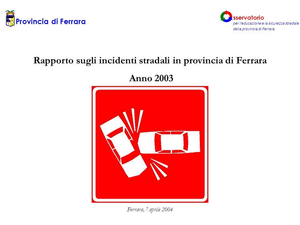 Rapporto sugli incidenti stradali in provincia di Ferrara Anno 2003 Ferrara, 7 aprile 2004 Provincia di Ferrara sservatorio per leducazione e la sicurezza stradale della provincia di Ferrara