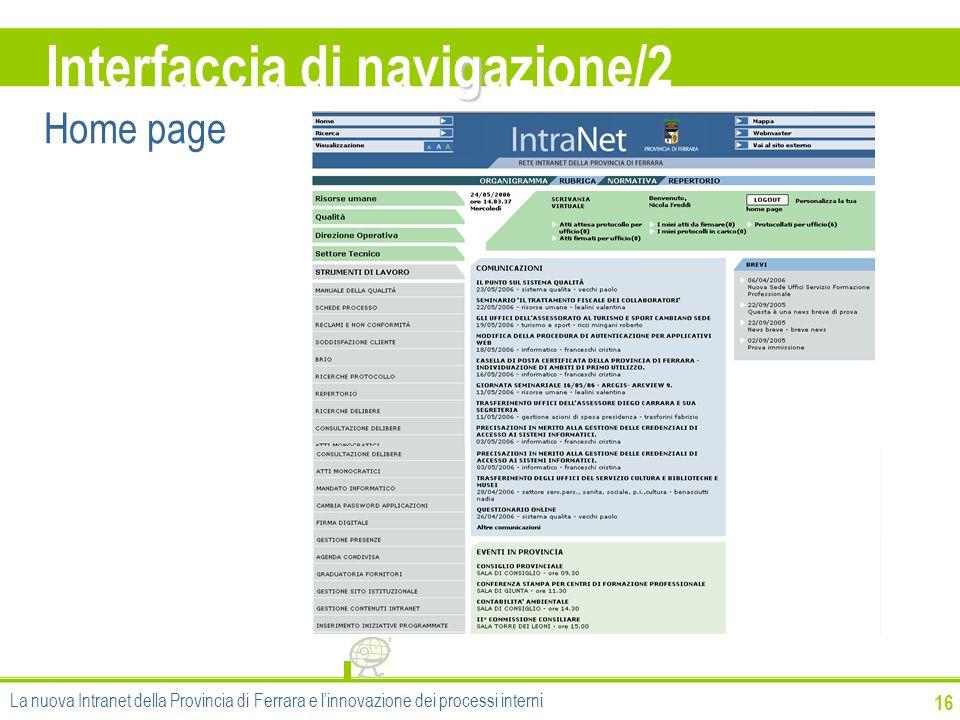 g Interfaccia di navigazione/2 16 Home page La nuova Intranet della Provincia di Ferrara e linnovazione dei processi interni