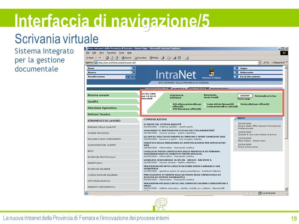 19 g Interfaccia di navigazione/5 Scrivania virtuale Sistema integrato per la gestione documentale La nuova Intranet della Provincia di Ferrara e linn