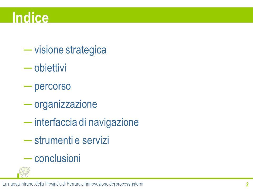 Indice visione strategica obiettivi percorso organizzazione interfaccia di navigazione strumenti e servizi conclusioni La nuova Intranet della Provinc