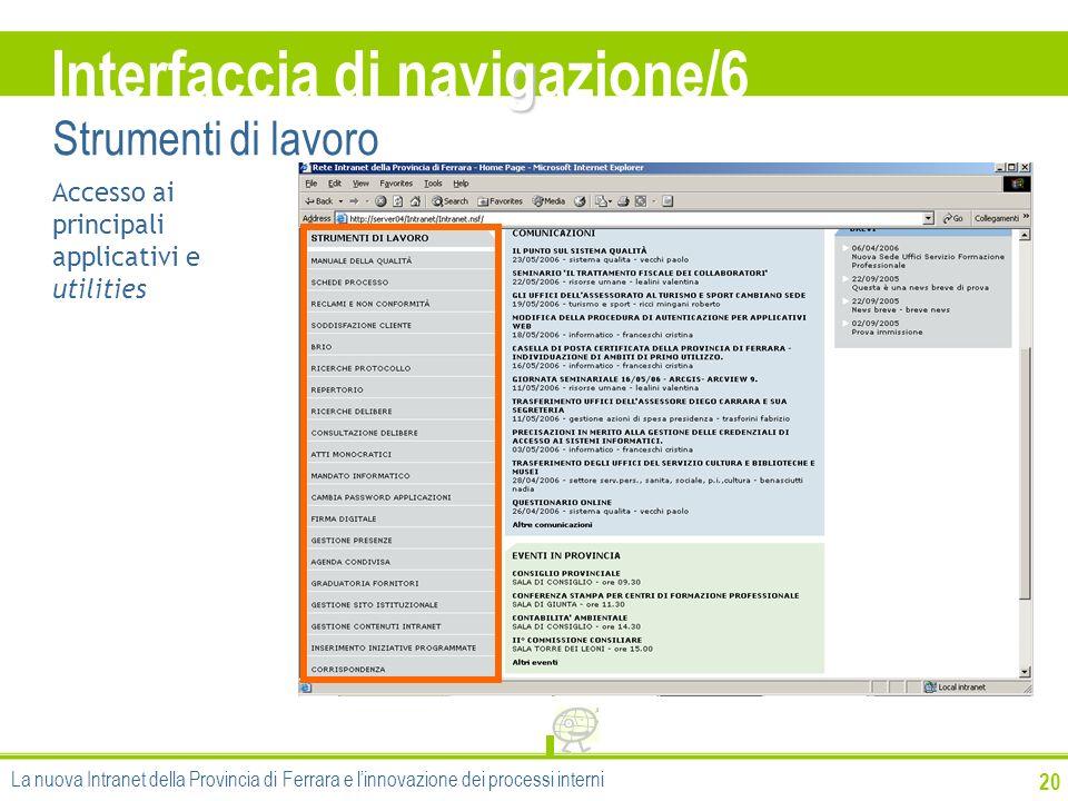 20 Accesso ai principali applicativi e utilities g Interfaccia di navigazione/6 Strumenti di lavoro La nuova Intranet della Provincia di Ferrara e lin