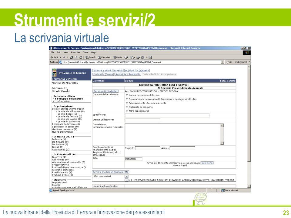 23 Strumenti e servizi/2 La scrivania virtuale La nuova Intranet della Provincia di Ferrara e linnovazione dei processi interni