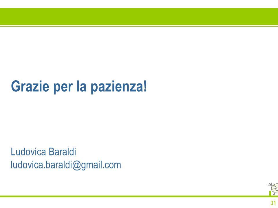 31 Grazie per la pazienza! Ludovica Baraldi ludovica.baraldi@gmail.com