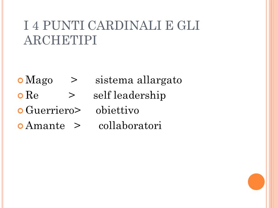 I 4 PUNTI CARDINALI E GLI ARCHETIPI Mago > sistema allargato Re > self leadership Guerriero> obiettivo Amante > collaboratori