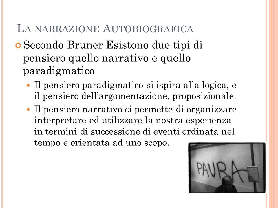L A NARRAZIONE A UTOBIOGRAFICA Secondo Bruner Esistono due tipi di pensiero quello narrativo e quello paradigmatico Il pensiero paradigmatico si ispir