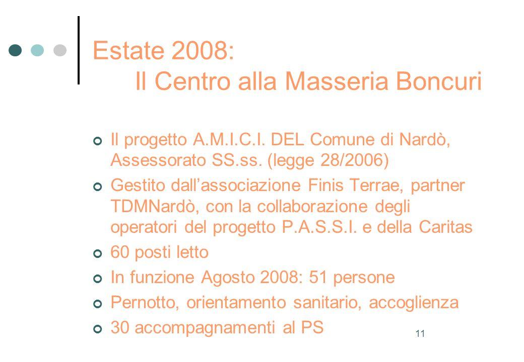 11 Estate 2008: Il Centro alla Masseria Boncuri Il progetto A.M.I.C.I.