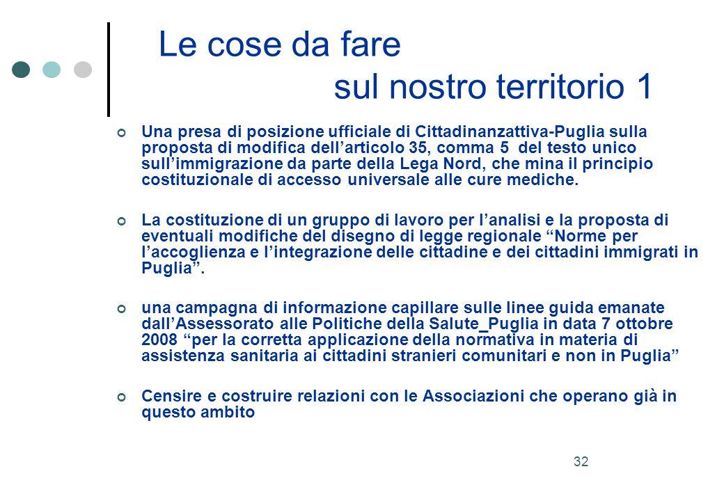 32 Le cose da fare sul nostro territorio 1 Una presa di posizione ufficiale di Cittadinanzattiva-Puglia sulla proposta di modifica dellarticolo 35, comma 5 del testo unico sullimmigrazione da parte della Lega Nord, che mina il principio costituzionale di accesso universale alle cure mediche.