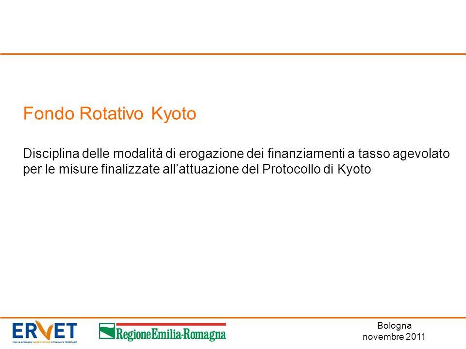 Fondo Rotativo Kyoto Disciplina delle modalità di erogazione dei finanziamenti a tasso agevolato per le misure finalizzate allattuazione del Protocoll