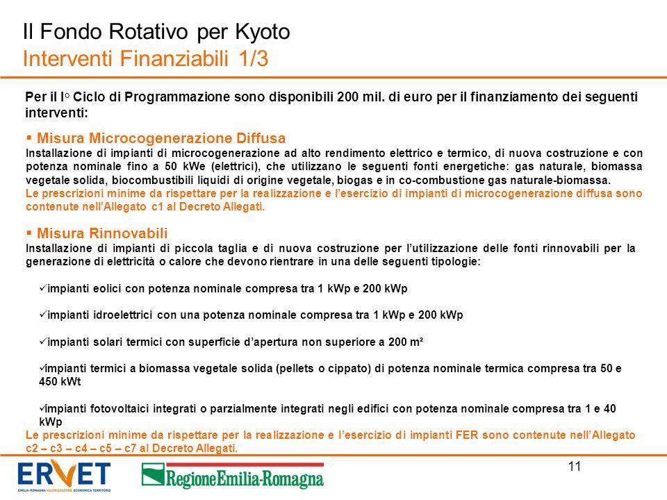 11 Il Fondo Rotativo per Kyoto Interventi Finanziabili 1/3 Per il I° Ciclo di Programmazione sono disponibili 200 mil. di euro per il finanziamento de