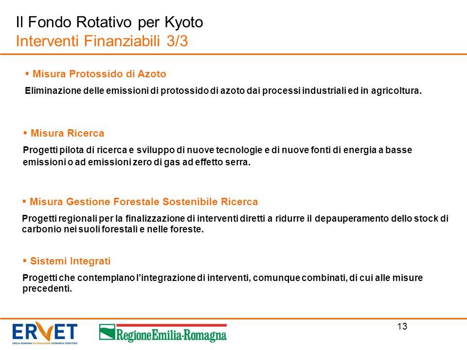 13 Il Fondo Rotativo per Kyoto Interventi Finanziabili 3/3 Misura Ricerca Progetti pilota di ricerca e sviluppo di nuove tecnologie e di nuove fonti d