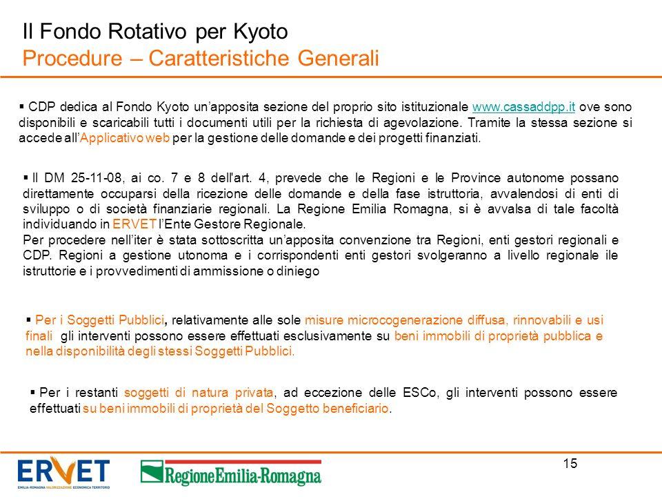 15 Il Fondo Rotativo per Kyoto Procedure – Caratteristiche Generali CDP dedica al Fondo Kyoto unapposita sezione del proprio sito istituzionale www.ca