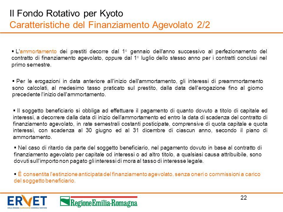 22 Il Fondo Rotativo per Kyoto Caratteristiche del Finanziamento Agevolato 2/2 L'ammortamento dei prestiti decorre dal 1° gennaio dell'anno successivo