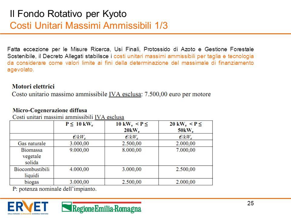 25 Il Fondo Rotativo per Kyoto Costi Unitari Massimi Ammissibili 1/3 Fatta eccezione per le Misure Ricerca, Usi Finali, Protossido di Azoto e Gestione