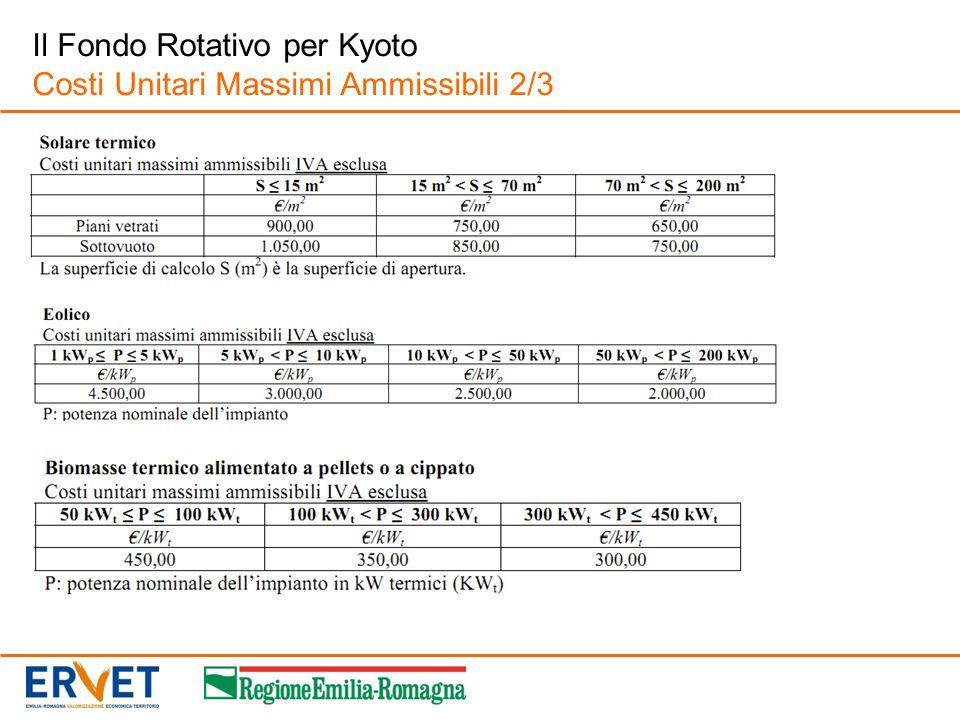 Il Fondo Rotativo per Kyoto Costi Unitari Massimi Ammissibili 2/3