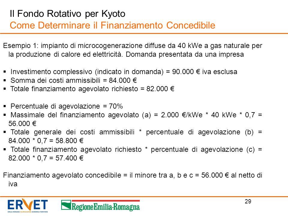 29 Il Fondo Rotativo per Kyoto Come Determinare il Finanziamento Concedibile Esempio 1: impianto di microcogenerazione diffuse da 40 kWe a gas natural