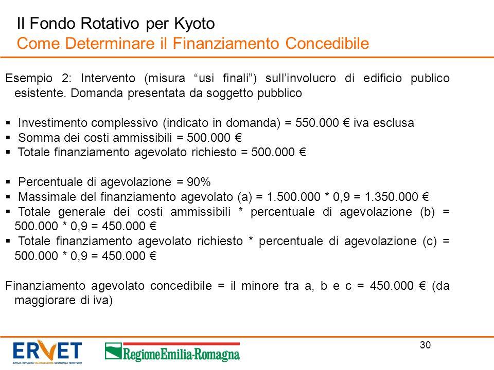 30 Il Fondo Rotativo per Kyoto Come Determinare il Finanziamento Concedibile Esempio 2: Intervento (misura usi finali) sullinvolucro di edificio publi