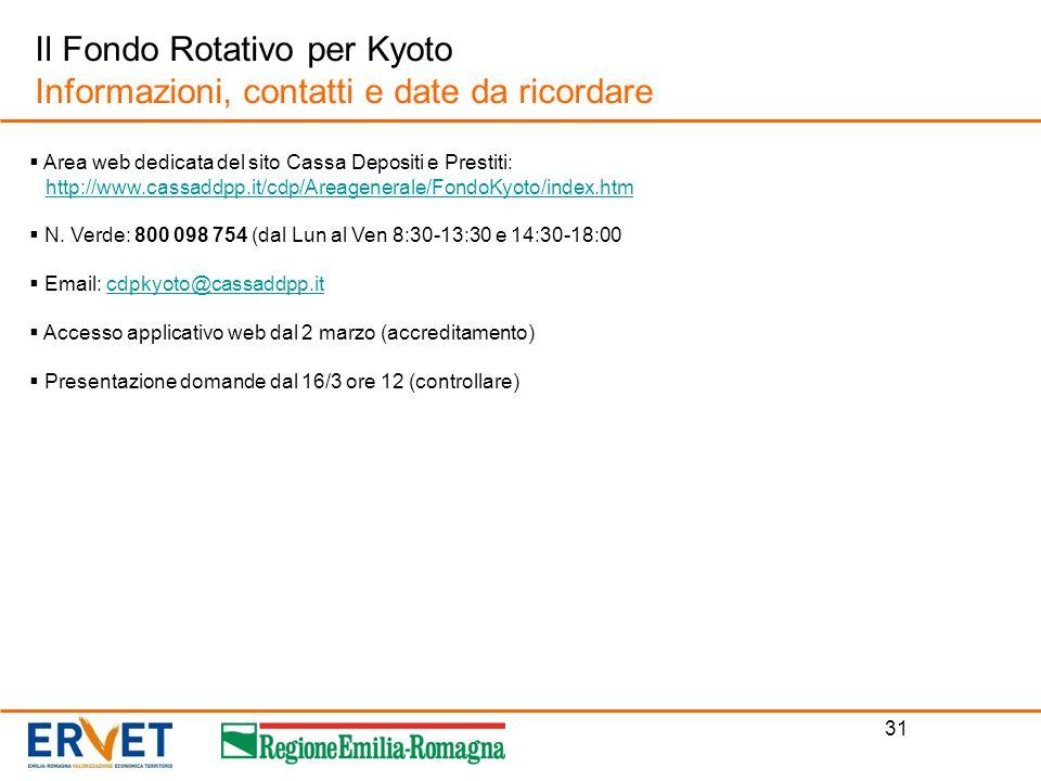 31 Il Fondo Rotativo per Kyoto Informazioni, contatti e date da ricordare Area web dedicata del sito Cassa Depositi e Prestiti: http://www.cassaddpp.i