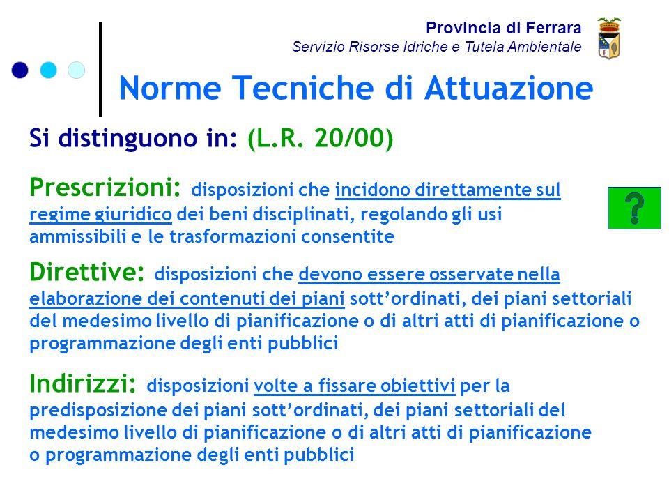 Norme Tecniche di Attuazione Provincia di Ferrara Servizio Risorse Idriche e Tutela Ambientale TITOLO I.